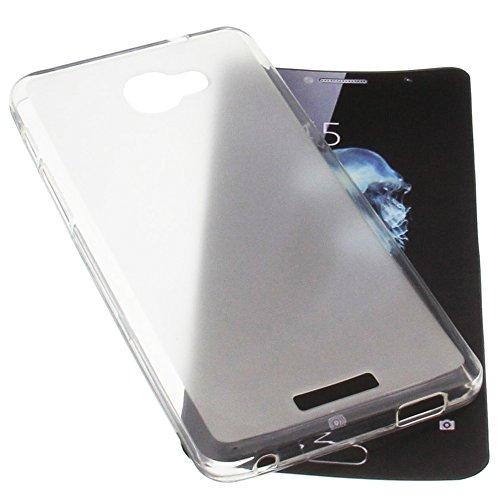 foto-kontor Tasche für Alcatel Flash Plus 2 Gummi TPU Schutz Handytasche transparent weiß