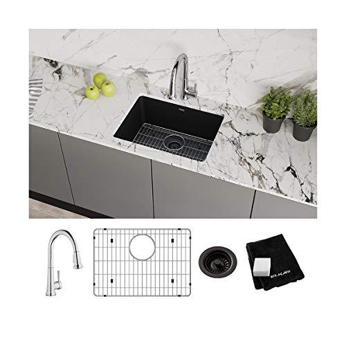 Elkay Quartz Classic ELGU2522BK0FC 24-5/8 x 18-1/2 inch x 9-1/2 inch, Single Bowl Undermount Sink