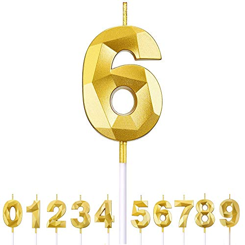 Fantasyon Number Candles 6, Gold Glitter Birthday Number Candle Gold Birthday Cake Candle Suitable for Kids and Adults, Cake Candles Cake Topper, Birthday Parties (Number 6)