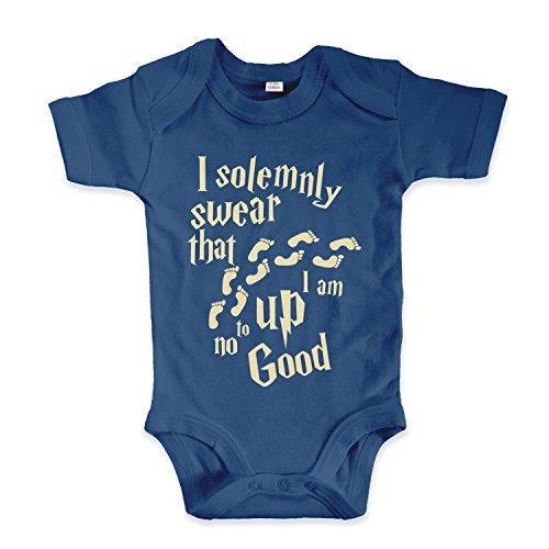 net-shirts Organic Baby Body mit Up to no Good Aufdruck Spruch lustig Strampler Babybekleidung aus Bio-Baumwolle mit Zertifikat Inspired by Harry Potter, Größe 0-3 Monate, Navy