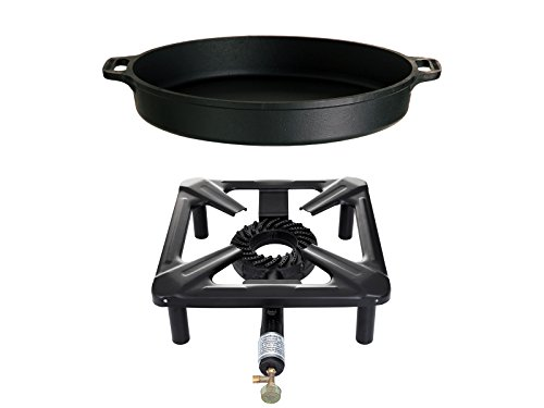 Paella World International Gaskocher Hockerkocher-Set mit Gusseisenpfanne, Mehrfarbig, 2-teilig