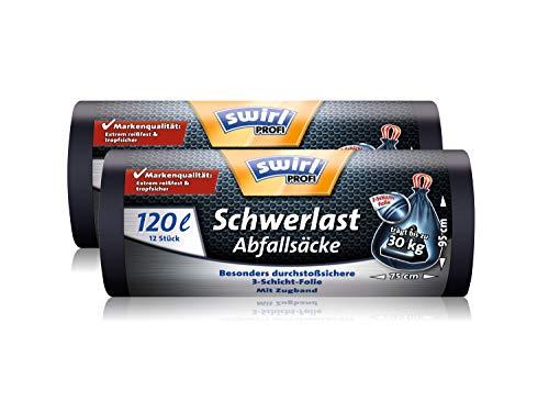 Swirl Profi Schwerlast-Abfallsäcke mit Zugband, 120 Liter, Reißfest, 2 Rollen mit je 12 Säcken