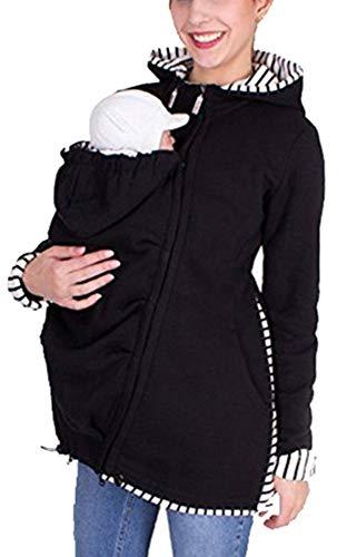 Sodhue 3 in 1 Tragejacke Damen Mutterschaft Schwangere Sweatshirts Multifunktions Kangaroo Jacke übergangsjacke Winter Fleecejacke Softhell Tragetuch Babytrage Kapuzenjacke Tragepullover