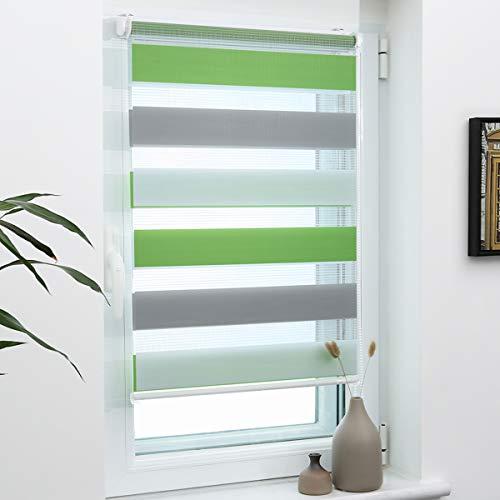 Grandekor Doppelrollo Klemmfix, Duo Rollos für Fenster und Tür ohne Bohren mit Klämmträger, Fensterrollo lichtdurchlässig & verdunkelnd - Grün-Grau-Weiß 80x120cm (Stoffbreite 76cm)
