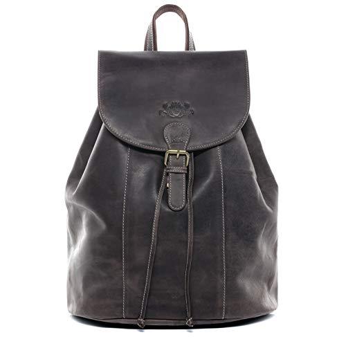 SID & VAIN Rucksack echt Leder Charly groß Kurierrucksack Backpack Tagesrucksack Laptopfach Lederrucksack Unisex braun
