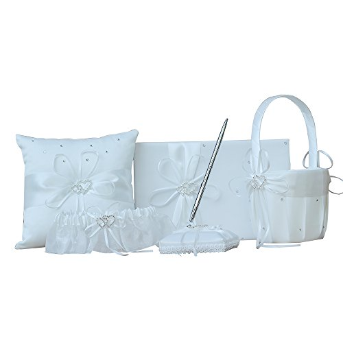 AmaJOY 5pcs Wedding Guest Book + Pen Set + Flower Basket + Ring Pillow + Garter, Ivory Cover, Double Heart Rhinestone Decor Ivory Ribbon Bowknot Elegant Wedding Ceremony Decor Party Favor