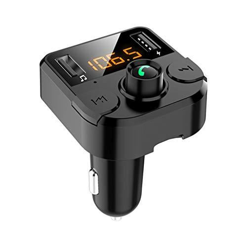 UKtrade - Transmisor FM inalámbrico Bluetooth para coche con 2 cargadores USB