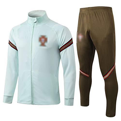 OJN 2021 Portugal New Season Männer langärmelige Breath Fußball-Trainingsanzug Stretch Fitness-Anzug Portugal (Mantel + Pants) (S-XXL) Light Green 1-L