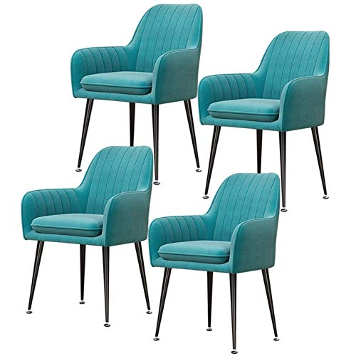 Set of 4 Velvet Dining Chair with Upholstered Soft Seat with Armrests & Backrest Leisure Chair Armchair for Kitchen Lounge Bedroom Living Room (Color : Light Blue, Size : Black Legs)