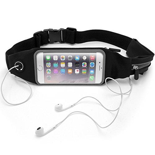 igadgitz U5878 Resistente al Agua Cinturón Deportivo Riñonera Belt Bolso Pantalla Táctil Compatible con Smartphones - Negro