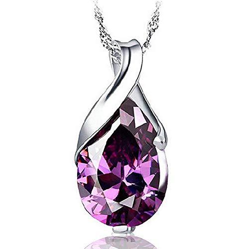 collar Collar Con Colgante De Cristal Púrpura Natural Para Mujer, Collar Con Dije De Lágrima De Ángel De Color Plateado, Solo Collar Sin Cadena