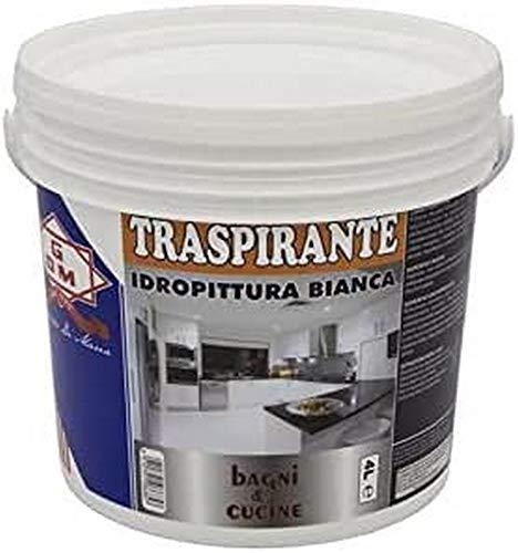 GDM Atmungsaktive Wasserfarbe, ideal für Badezimmer und Küche, 4 l, Weiß
