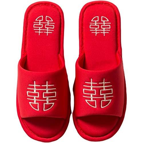 Zapatos caseros zapatillas de interior Estilo chino casa de boda parejas zapatillas afortunado rojo bordado algodón dormitorio zapatos planos zapatos de interior amantes de las mujeres zapatillas memo