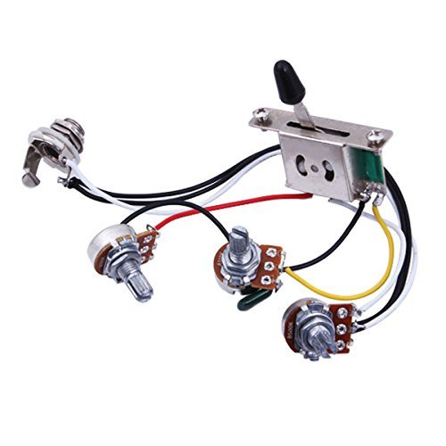 Musical Accessories Wiring Harness Prewired with A500k B500k Pots for Stratocaster Strat Guitar