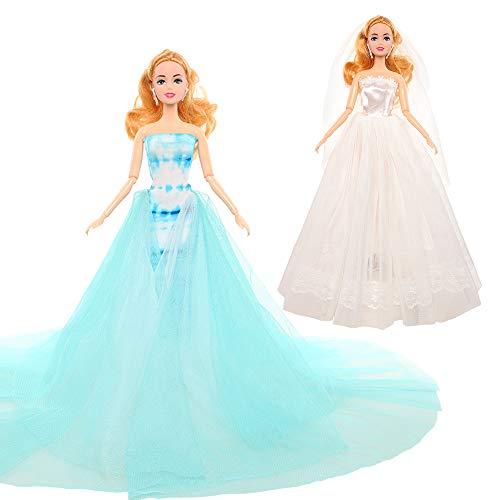 Miunana 2 Ropa para Barbie Muñeca De 30 CM / 11,5 Pulgadas: Vestido De Novia Azul De Encaje De Lujo + Vestido De Novia De Tubo Blanco (No Incluye Muñeca