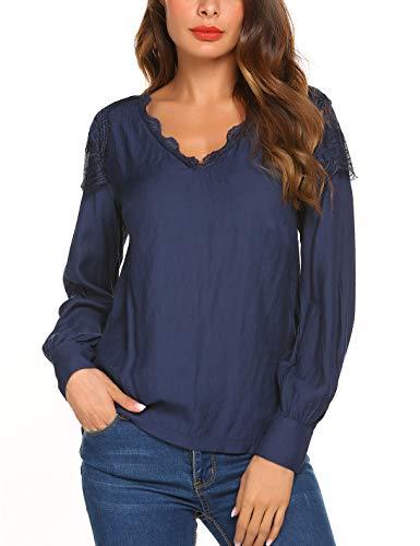 Meaneor Damen Elegant Bluse V-Ausschnitt mit Knopf Hemdbluse Langarm Stehkragen Blusenshirt Locker Shirts Casual Freizeit Tunika Oberteil Tops (Blau, 44)
