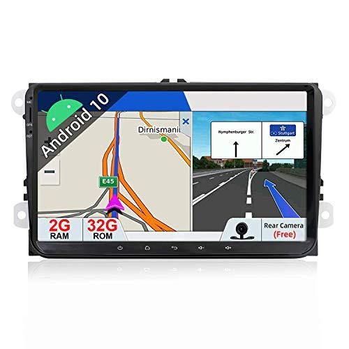 JIBO 9' Android 10.0 Doble Estruendo GPS Navegación Cabeza Unidad por VW Golf Skoda Seat Passat Polo Estéreo Multimedia Jugador Nav Sat Tocar Pantalla SWC Auto Radio Video Receptor