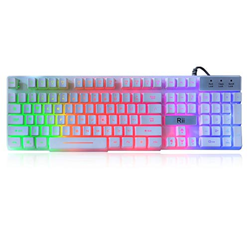 Rii RK100+ White Gaming Keyboard,USB Wired Multiple Colors Rainbow LED Backlit Large Size Mechanical Feeling Ultra-Slim Multimedia Keyboard Non-Slip for Gaming and Working