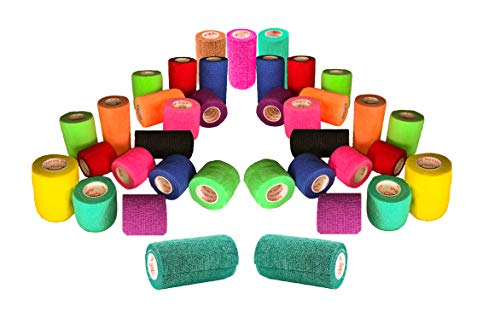 Vet Wrap Tape Bulk, FDA Approved, Self Adherent Rap, Adhesive Stick Bandage, Grip Roll Pet Cat Dog Horse, Assorted and Camouflage Colors 2, 3, or 4 inches Wide x 15 Feet - 6, 9, 12, 18, or 24 Packs