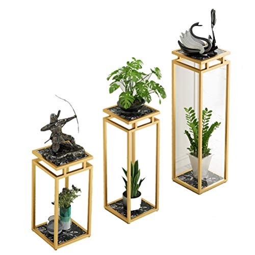Marmeren Tribune van de bloem, Indoor Bloempot Stand, licht luxe Simple Balkon Decoratie Stand Soort vloer Multi-layer smeedijzeren Flower Pot Rack 20/4/9