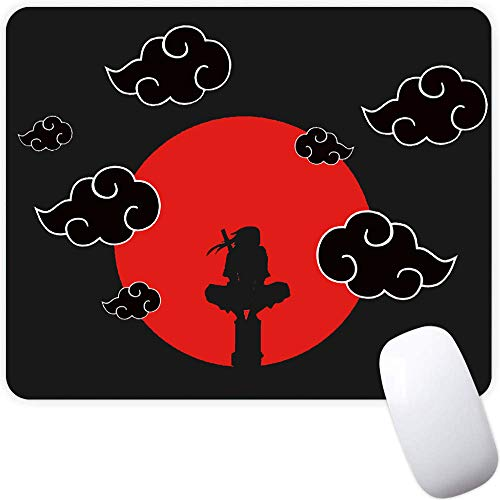 Mouse Pad,Red Moon Cloud Samurai Pattern Seamless Waterproof Gaming Anime Gift Mouse Pad Desk Accessories Non-Slip Rubber Mousepad for Laptop and Computer