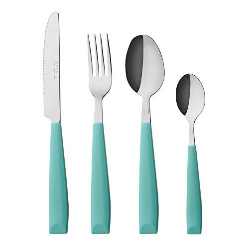 Exzact 16 PCS Besteck Set/Edelstahl-Besteck - Edelstahl mit Kunststoff-Handgriffen - Bequem zu halten - 4 x Gabeln, 4 x Dinner Messer, 4 x Dinner Esslöffel, 4 x Teelöffel (Türkis) .(WF232W x 16)