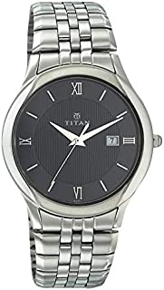 Titan Men Black Dial Stainless Steel Band Watch - T1494SM03