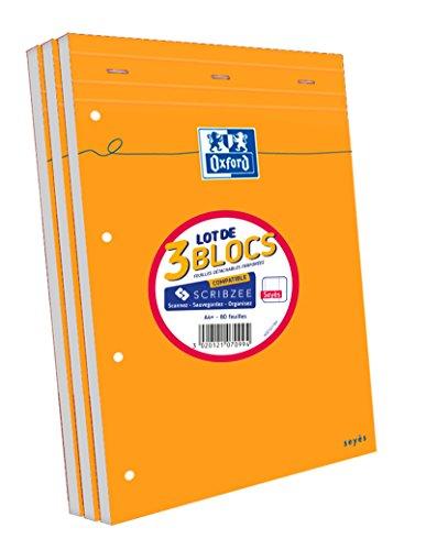 Oxford Lot de 3 Bloc-Notes Agrafés Format A4+ (21 x 31,5cm) 160 Pages Grands Carreaux Seyès Perforées Couverture Orange