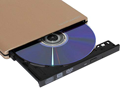 techPulse120 externer DVD CD M-Disc USB 3.0 Type C Brenner Writer Alu Champagner Gold Burner Superdrive Laufwerk DVD CD Ultra Slim für Computer Notebook Ultrabook Windows 10 MacOS Apple iMAC MacBook