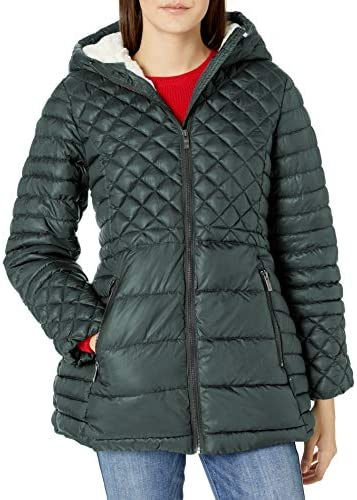 Steve Madden Women s Insulated Parka Jacket Multi Quilted Glacier Shield Forest Green L product image