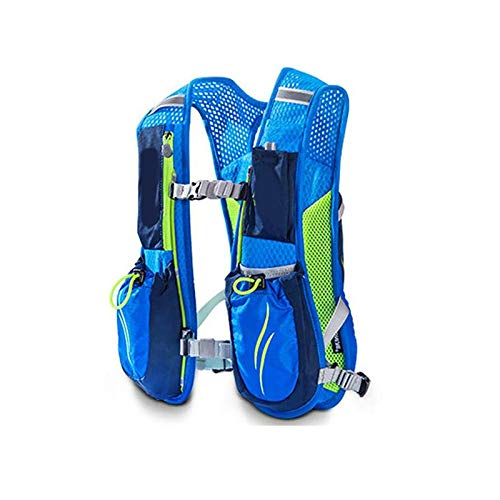 Unisex 5.5l Running Race Hydration Vest Pack Backpack Blue for Cycling Hiking Camping