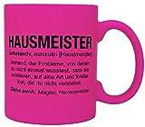 vanVerden Tazza Neon – Hausmeister Wikipedia – Stampa su entrambi i lati – Idea regalo – Tazza da caffè, colore: rosa fluo