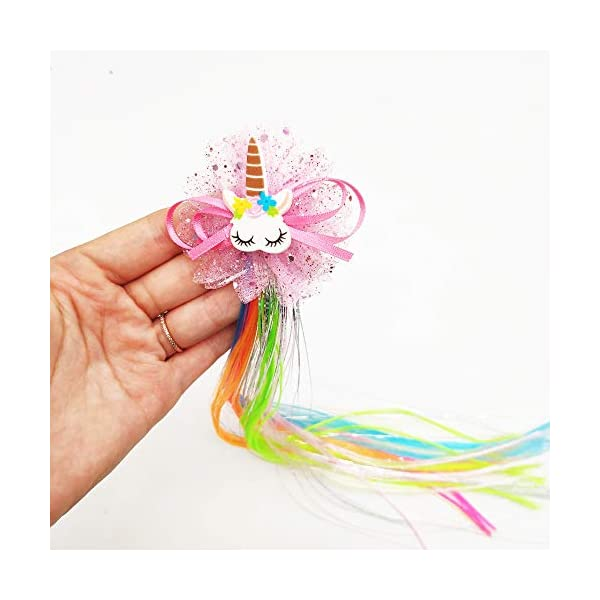 Sunormi 4 Pcs Multi-Colors Princess Kids Hair Clips In 15 Inch Straight Synthetic Hair Extensions Unicorn Butterfly Ponytails Hair Hairpieces For Girls Daily Dress Up 5