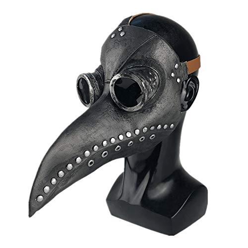 Medievale Medico della Peste Maschere di Uccello Medico della Peste Costume di Halloween Cosplay Steampunk Retro Heavy Metal Rock Maschera Spaventosa Becco per Festa in Costume (B Taglia unica)