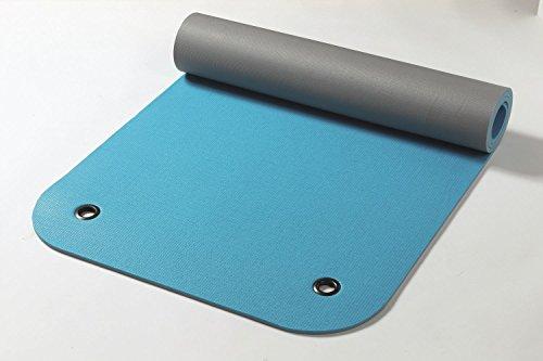 Yogabox Gymnastikmatte Komfort Made in Germany mit Ösen, Aqua/anthrazit