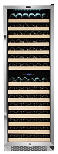 Whynter BWR-1642DZ 164 Built-in or Freestanding Stainless Steel Dual Zone Compressor Large Capacity Wine Refrigerator Rack for open bottles and LED display, Black