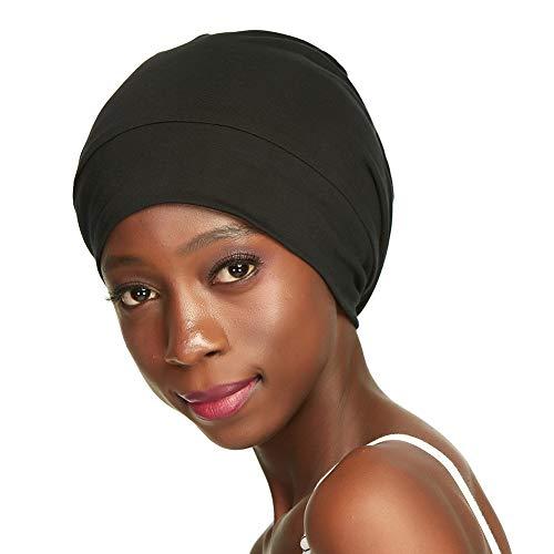 Sleep cap,Silk Satin Lined Cotton Headwear for Black Women Curly Natural Hair Black