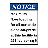 Notice Maximum Floor Loading for ANSI Safety Industrial Notices Metal Tin Sign Aluminum