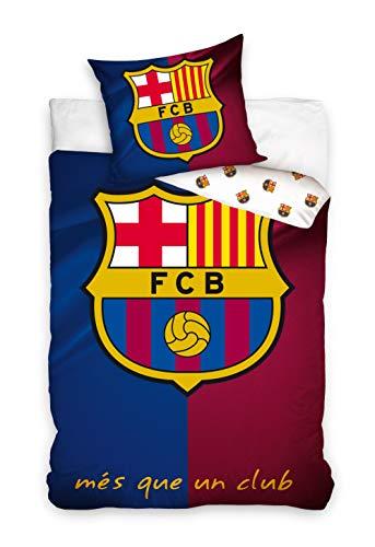 DHestia F.C. Barcelona Juego de Funda Nórdica para Cama 90 del Barça con Funda de Cojín.