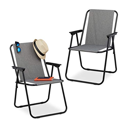 Relaxdays Campingstuhl 2er Set, Faltbare Campingsessel mit Armlehnen, Garten & Balkon, Klappstuhl, 74,5x51,5x51 cm, grau