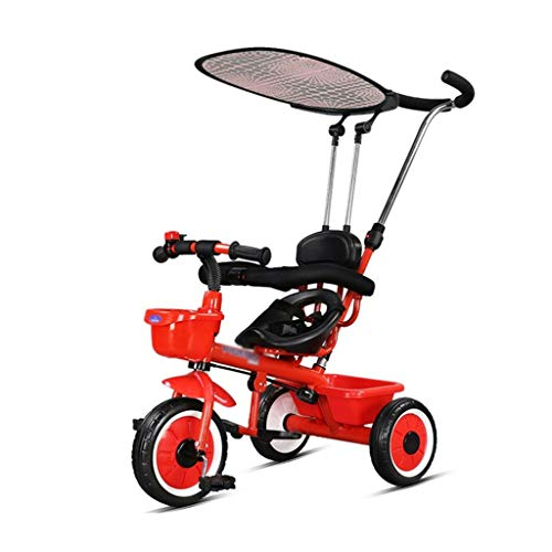 Stroller Toys Childrens Bicycle Boy Girl Trolley Lightweight Foldable Tricycle Kids Toy Car Child Pedal Car Boy Girl Tricycle Best Gift for Children (Color : Red, Size : 7291cm)