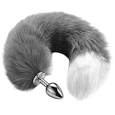 """UTIMI Butt Plug 15.7"""" Fox Tail Stainless Steel Anal Stopper Cosplay Plug Smooth Anal Sex Toy for Women(Faux)"""