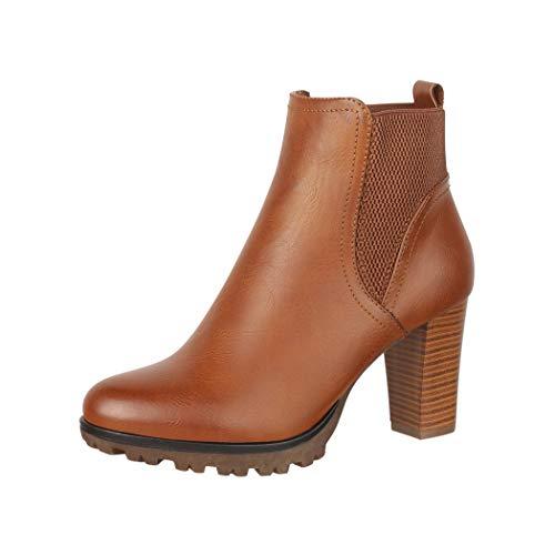 Elara Damen Stiefelette Ankle Boots Hoch Chunkyrayan Neu-BZ66019-KB Camel-39