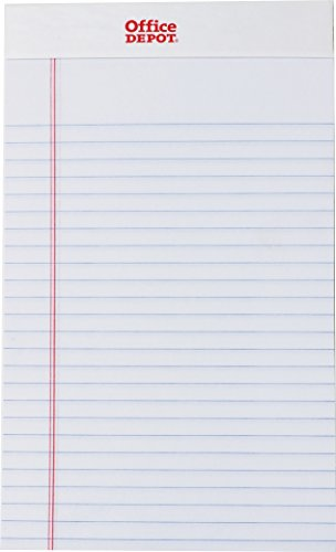 Office Depot Brand Perforated Writing Pads, 5' x 8', Narrow Ruled, 50 Sheets, White,