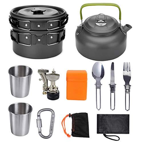 Generies Randonnée Backpaking Ustensiles de Cuisine Outdoor Cook Equipments Sets 12 Pieces Easy Carry Cooking Utensils Cooker Kitchenware Picnic 18.8 * 12.7 * 18.5cm for 2-3 People
