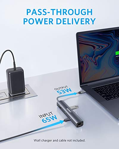 Anker PowerExpand 6-in-1 USB-C Ethernet Adapter, PD Ethernet Hub, 65 PD, 4K HDMI, 1Gbps Ethernet, USB-C Daten, 2 USB 3.0 Datenports, kompatibel mit MacBook Pro, MacBook Air, iPad Pro, XPS