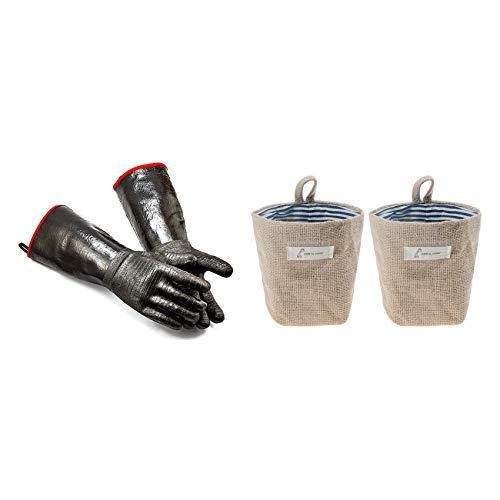 Cobeky 1 par de guantes de alto calor de la parrilla aislados guantes de cocina y 2 bolsas de almacenamiento colgantes de lino y algodón organizador pequeño