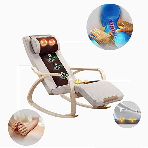 3D rugleuning massage schommelstoel, het schommelen ontwerp, instelbaar kussen met 6 massagewijzen for trillingen en verwarming, armleuningen, linnen omslag ontwerp QIANGQIANG