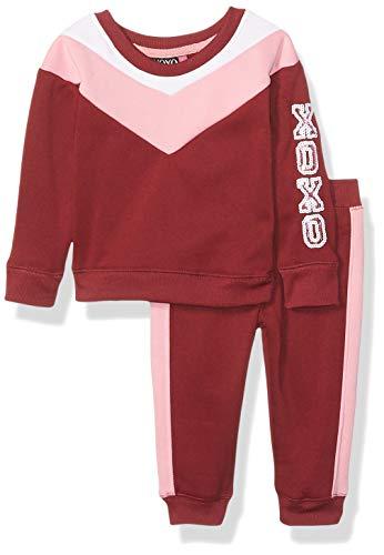 XOXO Baby Girls Fleece Top & Jogger Set, Wine, 12M