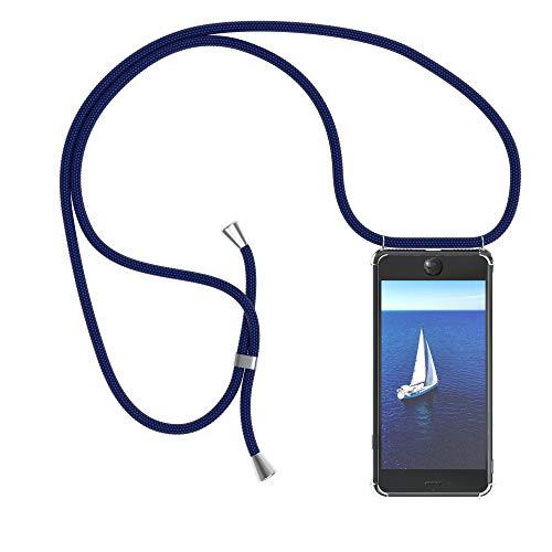 EAZY CASE Handykette kompatibel mit Apple iPhone 7, iPhone 8 Handyhülle mit Umhängeband, Handykordel mit Schutzhülle, Silikonhülle, Hülle mit Band, Stylische Kette mit Hülle für Smartphone, Navy Blau